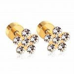 Cерьги цветок ромашки с покрытием и кристаллами Swarovski