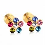 Cерьги в уши яркий цветок с покрытием и кристаллами Swarovski