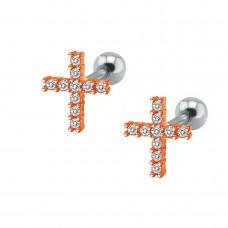 Серьги стальные крестики с кристаллами в красном золоте