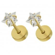 Cережки в уши с позолотой циркон звезда в крапане