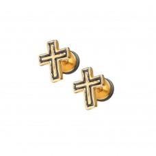 Парные серьги украшение на микро-штанге Крестик