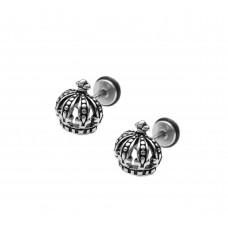 Кульчики сталеві з диском корона монарха
