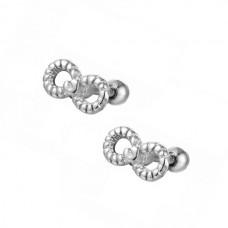 Парні сріблясті кульчики з прикрасою плетені нескінченність