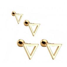Сережки для пірсингу вух сталеві трикутники з покриттям набір