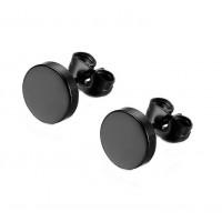 фото Серьги-гвоздики в уши круглые стальные с анодированным покрытием