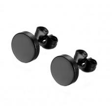 Модные черные серьги гвоздики круглые унисекс