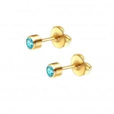 Серьги гвоздики позолоченные с голубым кристаллом