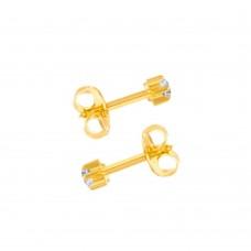 Серьги-гвоздики парные с белым цирконом в крапане gold