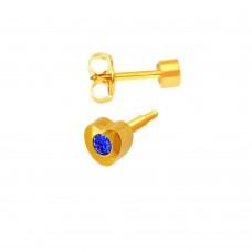 Серьги гвоздики 3 мм - сталь, покрытие, сердце, циркон, сапфир