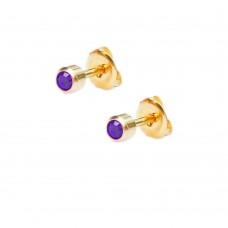 Серьги гвоздики с фиолетовым камнем мини в позолоченной оправе
