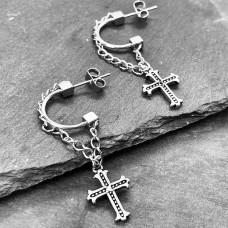 Сережки сталеві висячі підвіски в панк-рок стилі