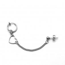 Серьга сдвоенная стальная обманка с гвоздиком на цепочке