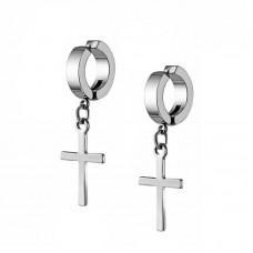 Сережки-обманки кліпси сталеві з підвіскою хрестик