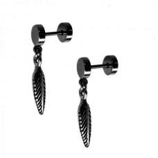 Серьги плаги диски с подвижной подвеской черное перо