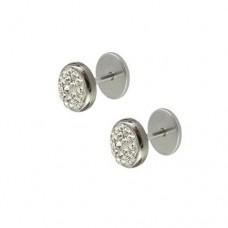 Сережки на гвинтовій закрутці з білими кристалами Swarovski