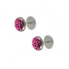 Сережки на закрутці з рожевими кристалами Swarovski