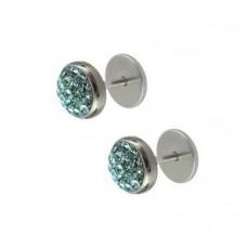 Серьги на закрутке кристаллами голубой циркон