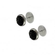 Сережки-закрутки з кристалами Swarovski чорного кольору
