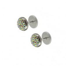 Кульчики-закрутки з кристалами Swarovski мультиколор