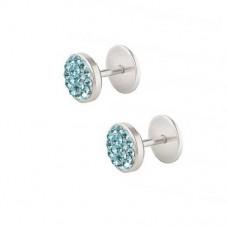 Сережки у вуха з блакитними кристалами Swarovski на диску закрутці