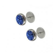 Серьги на закрутке с синими кристаллами Swarovski