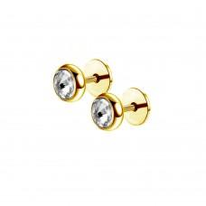 Серьги микро-штанги в уши кристалл в позолоченной оправе с диском