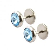 Парні сережки закрутки з великим блакитним кристалом в сталевій оправі
