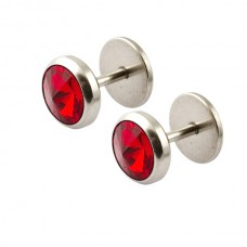 Серьги-закрутки парные с круглым красным кристаллом