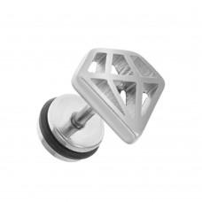 Кульчик унісекс пірсинг вуха декоративний сталевий діамант