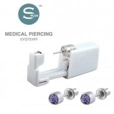 Серьги-гвоздики для прокола уха фиолетовый кристалл мини с заглушкой