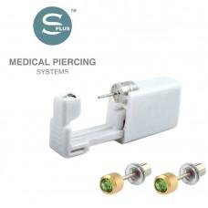Серьги-иголки для прокола уха с заглушкой и камнем crystal Peridot
