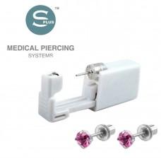 Серьги стальные для прокола уха с розовым фианитом Tiffani Cubic Zirconia Rose