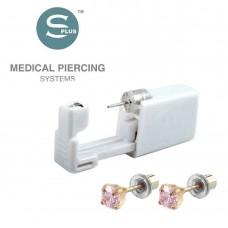 Серьги с заглушкой для прокола уха позолоченный крапан Tiffany Cubic Zirconia Pink