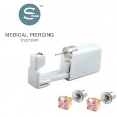 Серьги для прокола уха розовый цирконий в позолоте Tiffany Cubic Zirconia Pink
