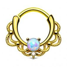 Позолоченная пирсинг серьга кольцо кликер с белым опалом