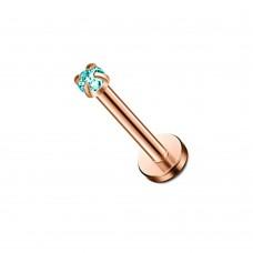 Лабрет стальной с аквамарином мини в крапане розовое золото
