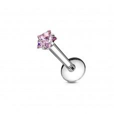 Лабрет стальной с розовой звездой циркон в крапане