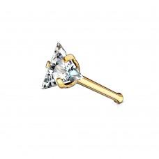 Сережка в нос позолоченная нострила с треугольным фианитом