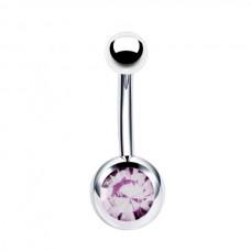 Серьга изогнутая в пупок с одним лиловым кристаллом