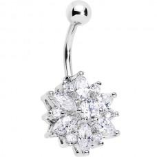 Сережка стальная цветок с яркими кристаллами