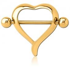 Серьга в сосок позолоченная штанга с декоративным сердцем