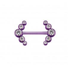 Штанга титановая в сосок лиловая с кластером Циркон