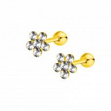 Стальные детские серьги золотые цветочки с белыми кристаллами
