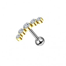 Серьга золотой полумесяц из пяти фианитов на стальной штанге