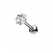 Штанга мини титановая для пирсинга с кристаллом Квадрат