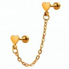 Микро-штанга двойная подвеска позолоченная сердечки с цепочкой