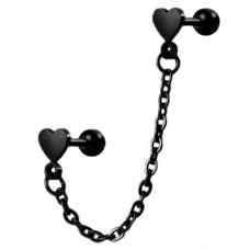 Микро-штанга стальная черная парные сердечки сдвоенные цепочкой