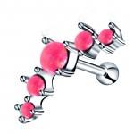 фото Серьга для хрящика с опалом розовым стальная