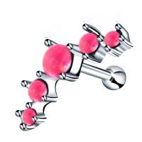 Серьга для хрящика с опалом розовым стальная