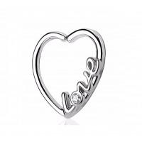 Серьга сердце для пирсинга уха с узором love